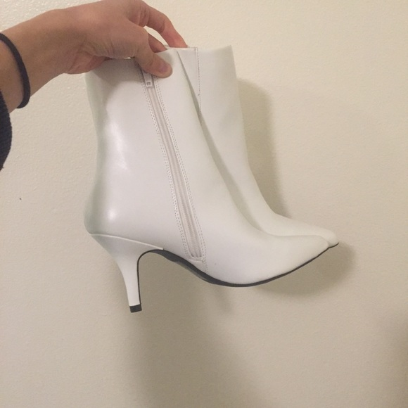 ff059a748 Qupid Shoes | White Kitten Heel Pointy Toe Bootie Faux Leather ...